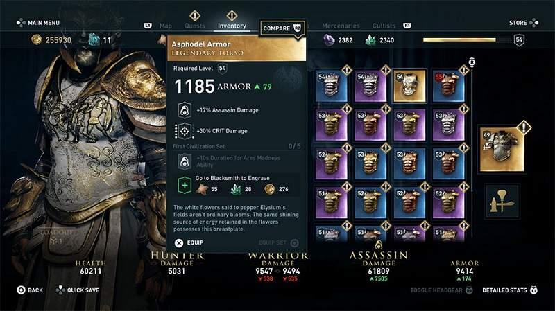 ac odyssey legendary asphodel armor