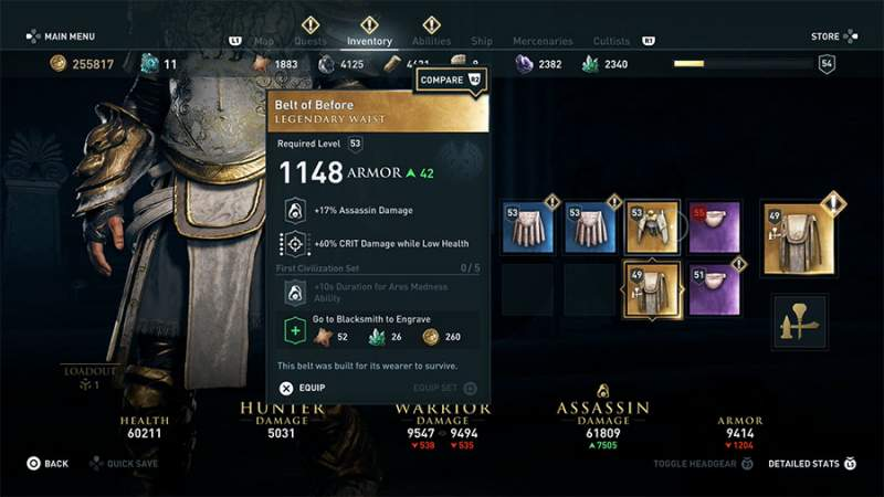 ac odyssey legendary belt of before armor