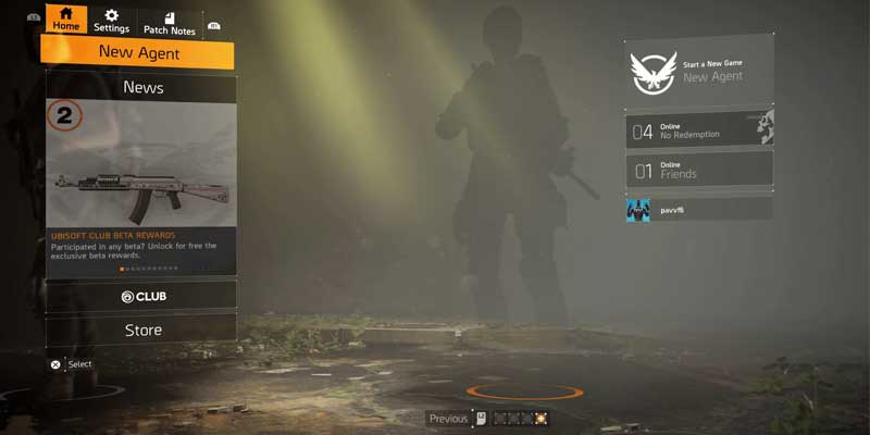 Division 2 How To Start New Game