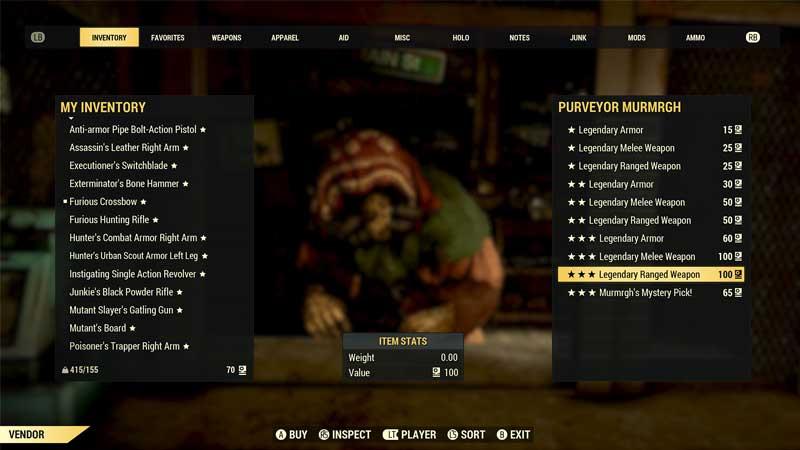Fallout 76 Legendary Vendor Location