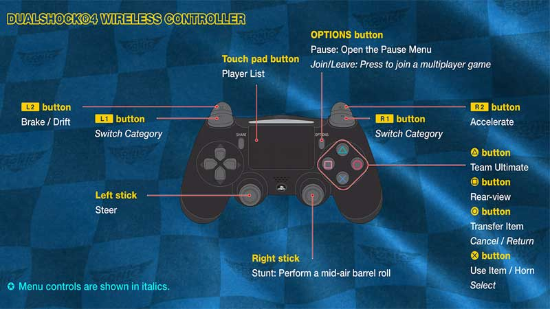 Team Sonic Racing PS4 Controls Guide