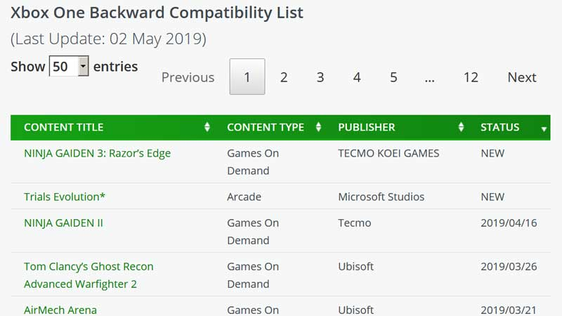 Xbox Backward Compatibility Games
