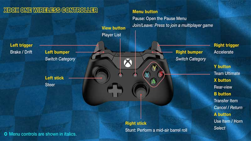 Team Sonic Racing Xbox One Controls Guide