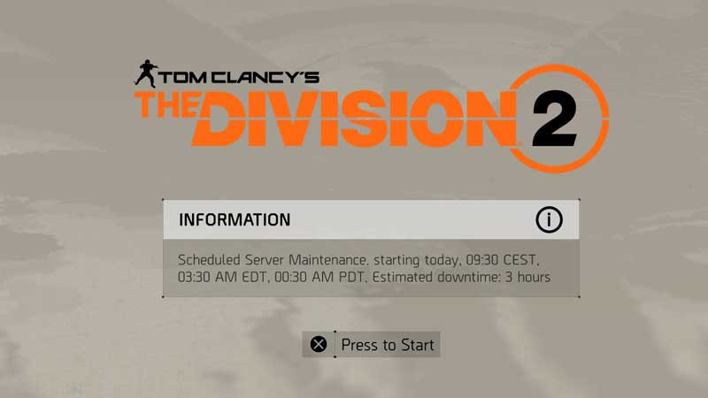 The Division 2 Sever Down Time