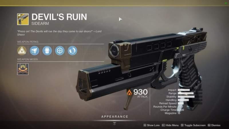 devils ruin exotic sidearm in destiny 2