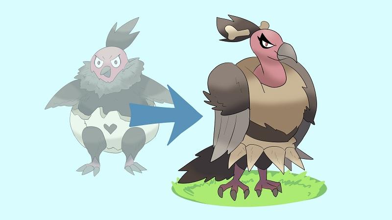 evolve vullaby to mandibuzz pokemon sword shield