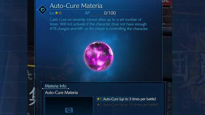 FF7 Remake Unlock Auto-Cure Materia