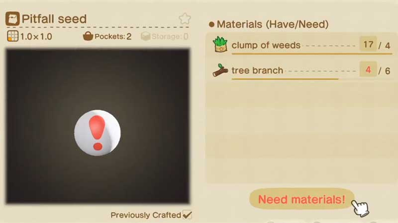 Animal Crossing New Horizon Pitfall Seeds
