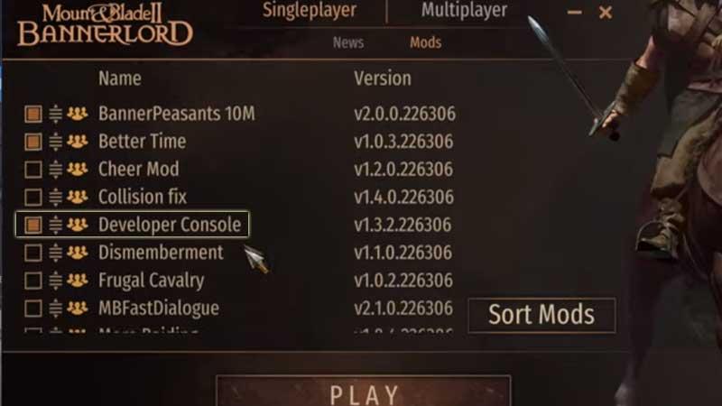 Mount & Blade II: Bannerlord Developer Console