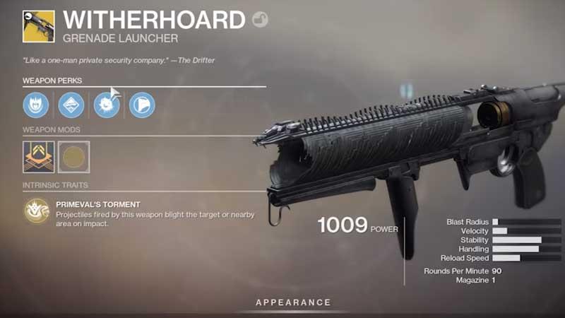 Destiny 2 Witherhoard Grenade Launcher