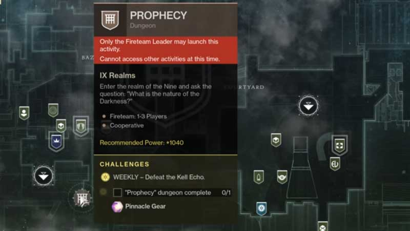 Unlock Prophecy Dungeon Destiny 2