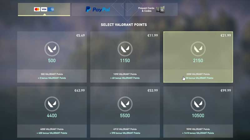 how to buy valorant points