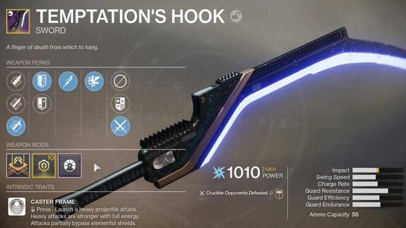 Destiny 2 Temptations Hook Sword
