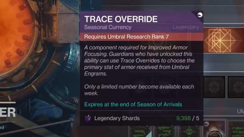 Destiny 2 Trace Override