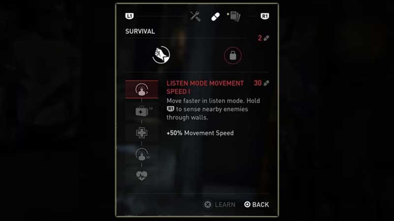 Last Of Us 2 Skill Upgrades