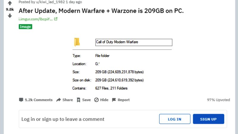 Call of Duty: Modern Warfare & Warzone File Size 209GB
