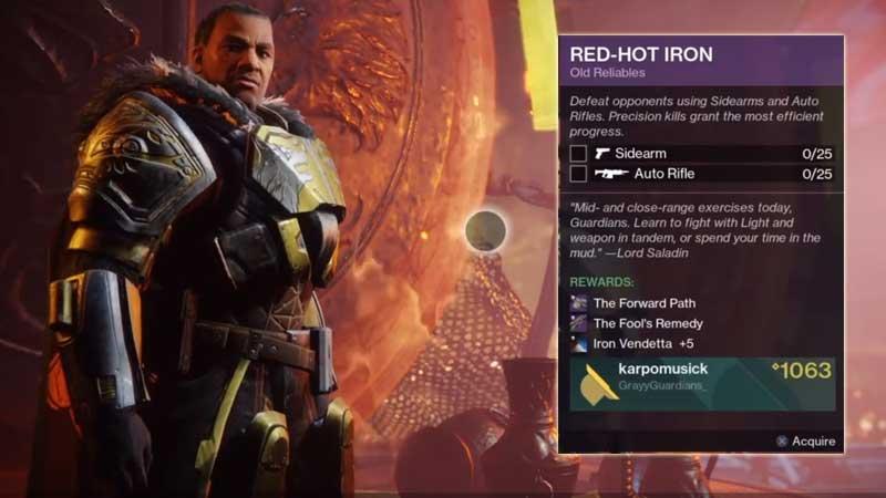 Destiny 2 Red Hot Iron