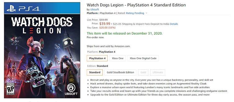 watch dogs legion price