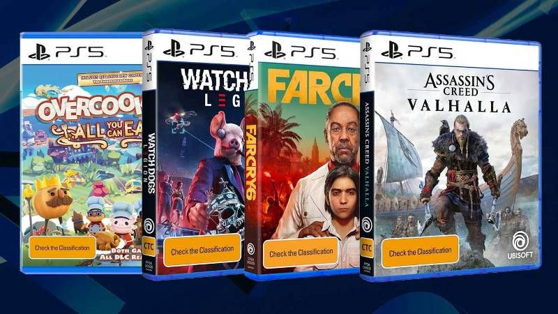 PS5 Box Arts for Assassin's Cred Valhalla, Watch Dogs Legion, & Far Cry 6