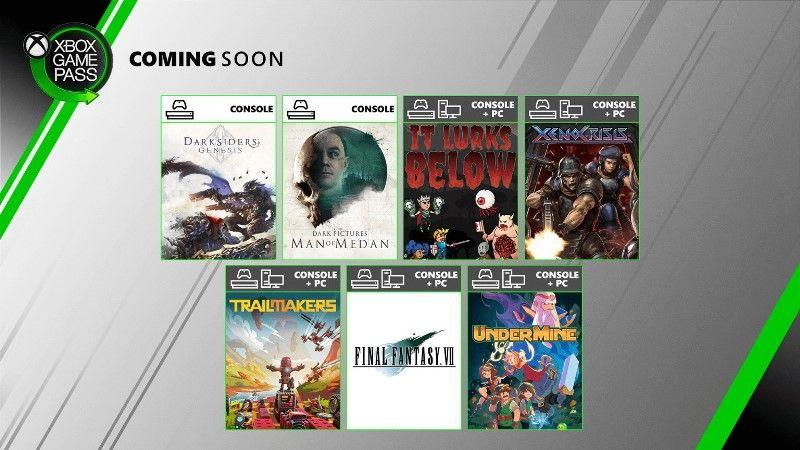 Xbox Game Pass August 2020 Free Games Final Fantasy 7 HD, Darksiders Genesis