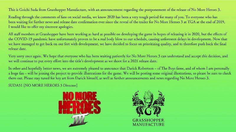 No More Heroes 3 Delayed