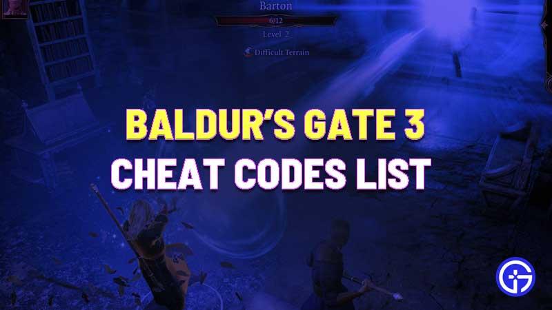 Baldur's Gate 3 Cheat Code
