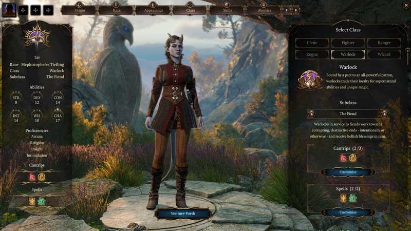 baldur's gate 3 classes warlock