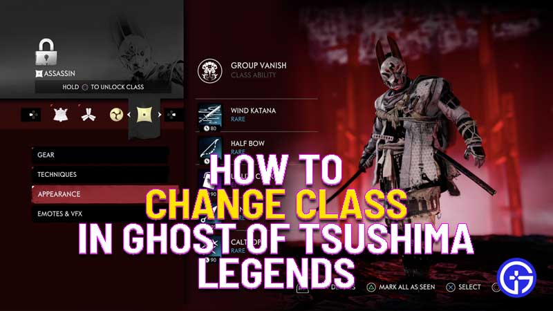 how to change class in ghost of tsushima legends dlc