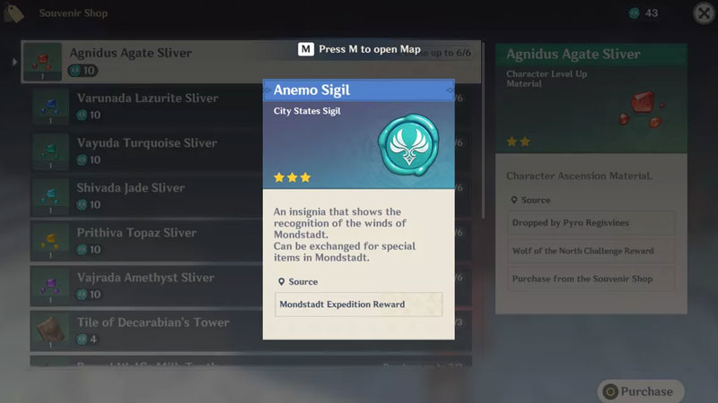 how to get anemo sigils in genshin impact