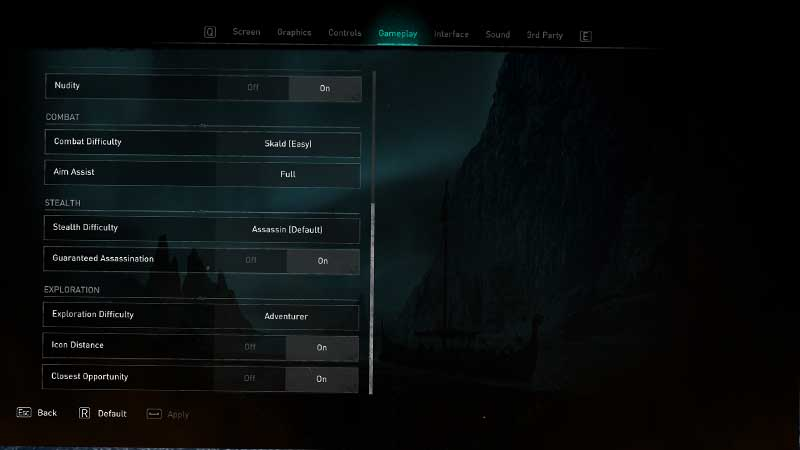 Assassins Creed Valhalla Difficulty Settings