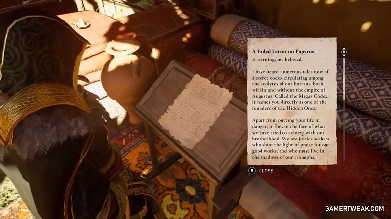 Assassin's Creed Valhalla Letter from Bayek