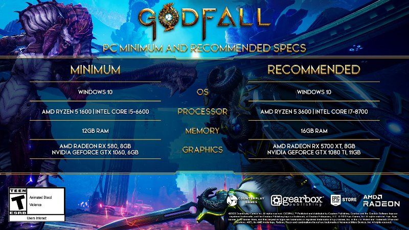 Godfall PC System Requirements