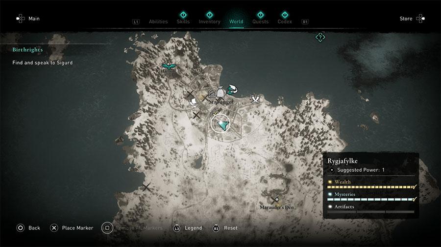 Rygjafylke Artifact Location Guide