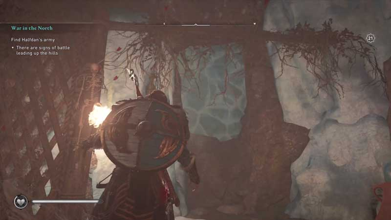 break the ice wall in wiccan's cave