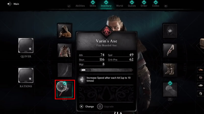 how to get rid of weapons in assassin's creed valhalla