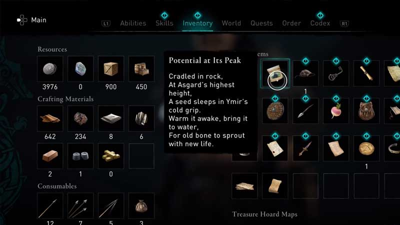 how to find the potential at its peak item for the taking root quest in assassin's creed valhalla