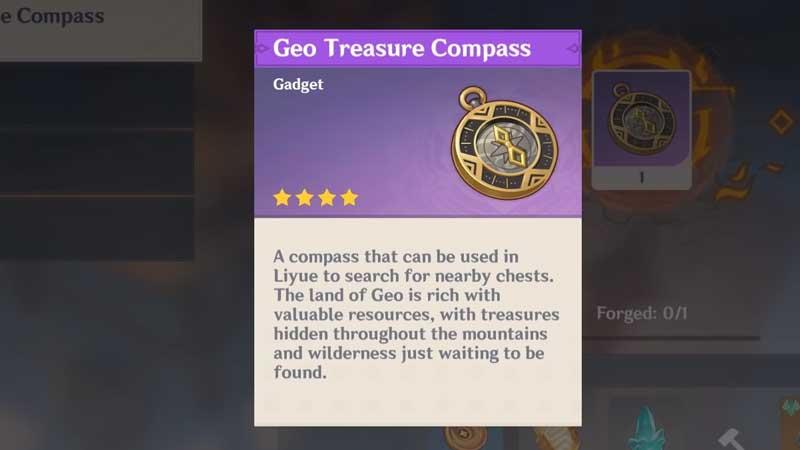 how to unlock genshin impact geo treasure compass blueprint