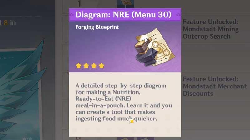 how to unlock nre (menu 30) diagram in genshin impact