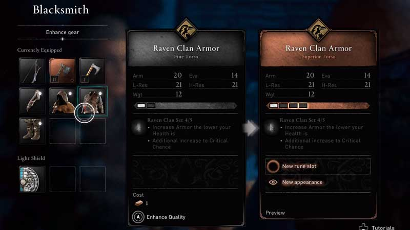 how to upgrade gear in assassin's creed valhalla