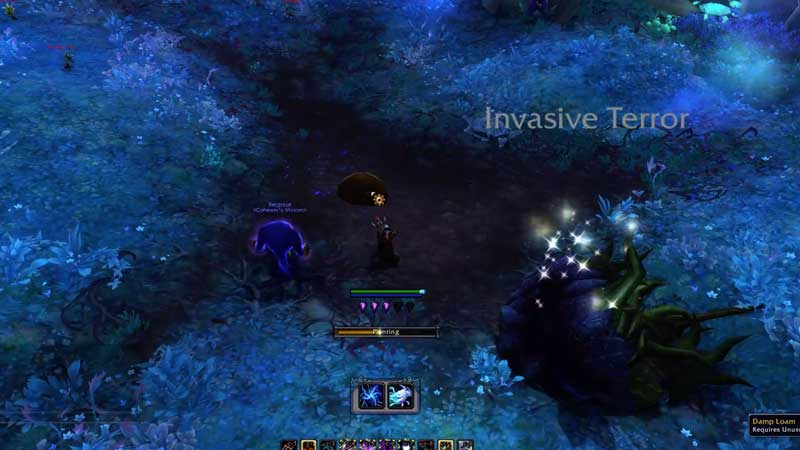 planting the unusually large mushroom in damp location to summon humon'gozz in wow shadowlands
