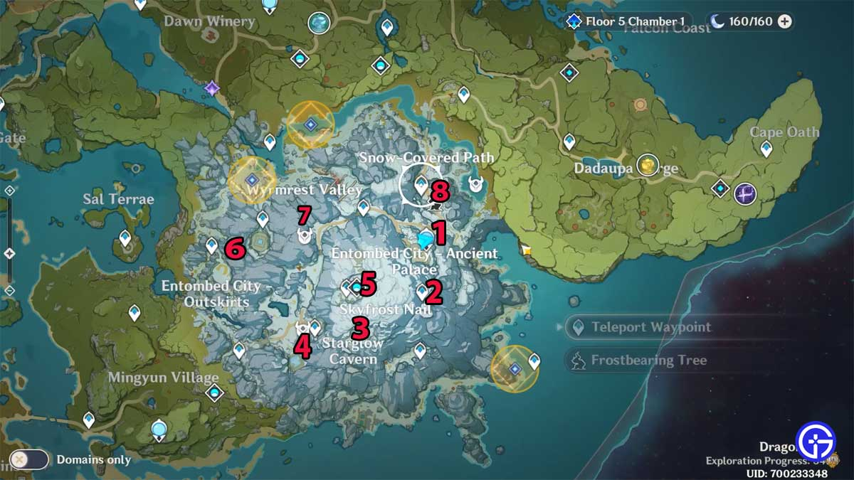 All Stone Tablet Locations in Dragonspine in Genshin Impact