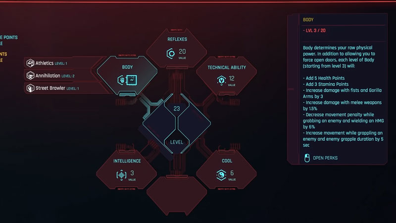 level athletics rewards list in cyberpunk 2077