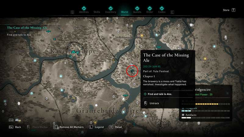 case of the missing ale quest location