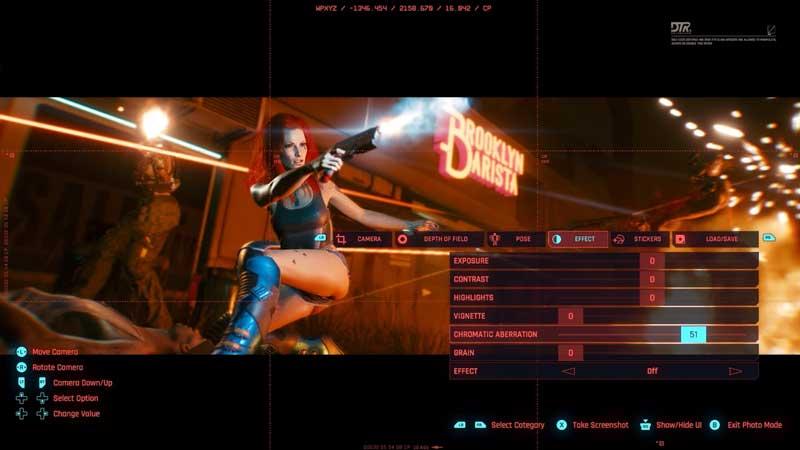 cyberpunk 2077 photo mode effect tab