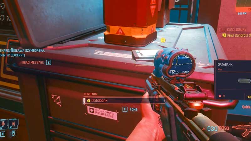 how to find sandra's databank in cyberpunk 2077 full disclosure quest