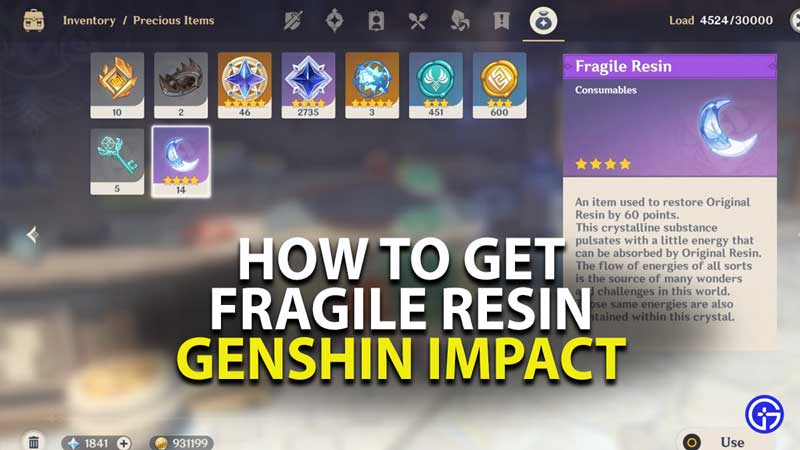 how to get fragile resin in genshin impact