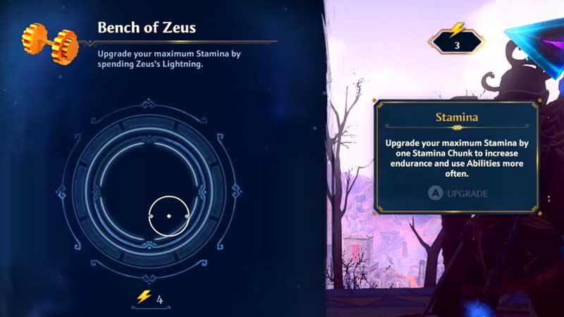 how to use bench of zeus to upgrade stamina chunk