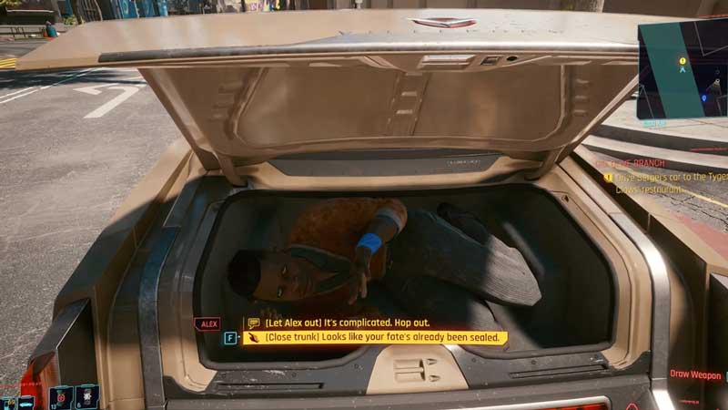 let alex out or close the trunk in cyberpunk 2077