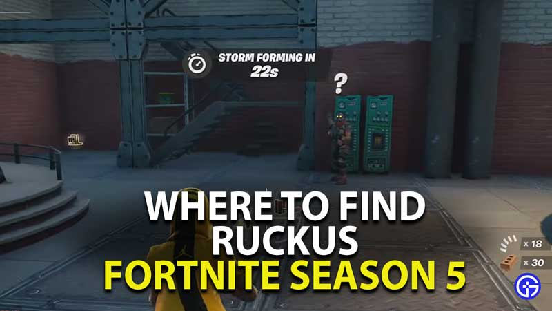 Where To Find Ruckus In Fortnite Chapter 2 Season 5 Gamer Tweak Fortnite chapter 2 season 5 has finally begun after an epic event with galactus, and we've got the details on everything new. fortnite chapter 2 season 5