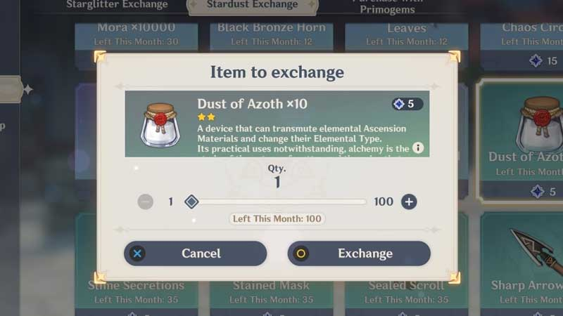 Genshin Impact Dust of Azoth Guide